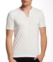 John Varvatos Star USA Men's Short Sleeve Metal Eyelet Henley Shirt Cott... - $1.041,68 MXN