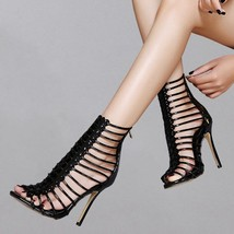 93s009 Lady's caged ankle sandals, 11 cm heel, size 5-9, black - $62.80