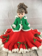 """Crotchet Doll Caroler Dress Christmas Dress Comes With Doll 1988 Fibre Craft 14"""" - $19.75"""