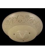 "1930s Art Deco Glass Ceiling Light Shade 3 Hole Bead Chain 16"" Ivory Flo... - $44.95"