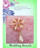 GIFTING WEDDING Keepsake VTG Hand Crafted Pink Roses Brooch 1960.. - $23.21