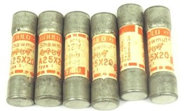 LOT OF 6 GOULD SHAWMUT A25X20 AMP-TRAP FUSES TYPE 1, 20AMP