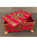 Fricke and Nacke Tin Trinket Box Footed Red Copper Ornate Style Western ... - $12.61