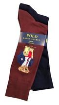 Polo Ralph Lauren Mens Teddy Bear/Pony Logo 2 Pack Socks Wine Navy Shoe sz 6-12 - $29.99