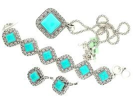 Blue Howlite Pendant w/Chain, Bracelet and Earrings in Silvertone - $34.65