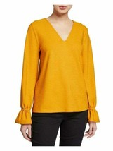 BNEW Michael Kors Women's Petite V-Neck Ruffled Cuff Top Size P/S ALL SIZE - $41.58