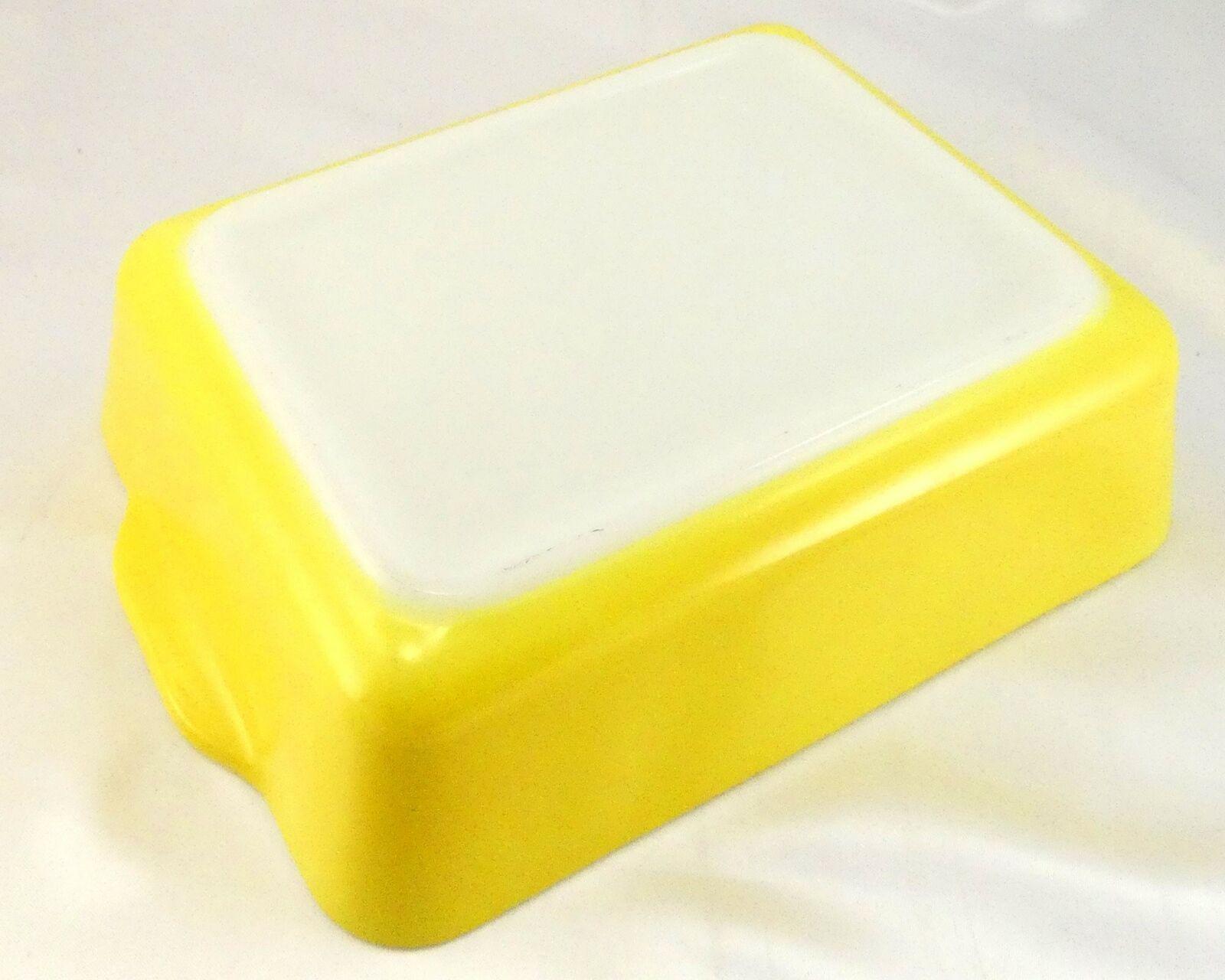 Pyrex 503 Banana Yellow Fridge Dish Milk Glass w/ Lid Made in the USA image 7
