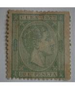 CUBA 1877 Stamp, Scott #71 King Alfonso XII  10c (lt green) Single - $15.00