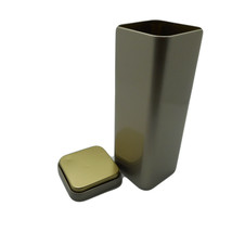 Tea square Tin with Lid Cover Size 2.4x6.8x2.4 ... - $15.39