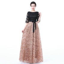 New Prom Dress Black With Khaki Color Lace Floor-length Long Prom Party ... - $115.99