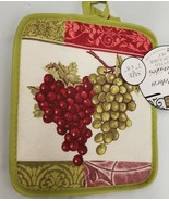 "Set of 2 Printed JUMBO Pot Holders, 7"" x 8"", GRAPES w/ green back, BH - $8.90"