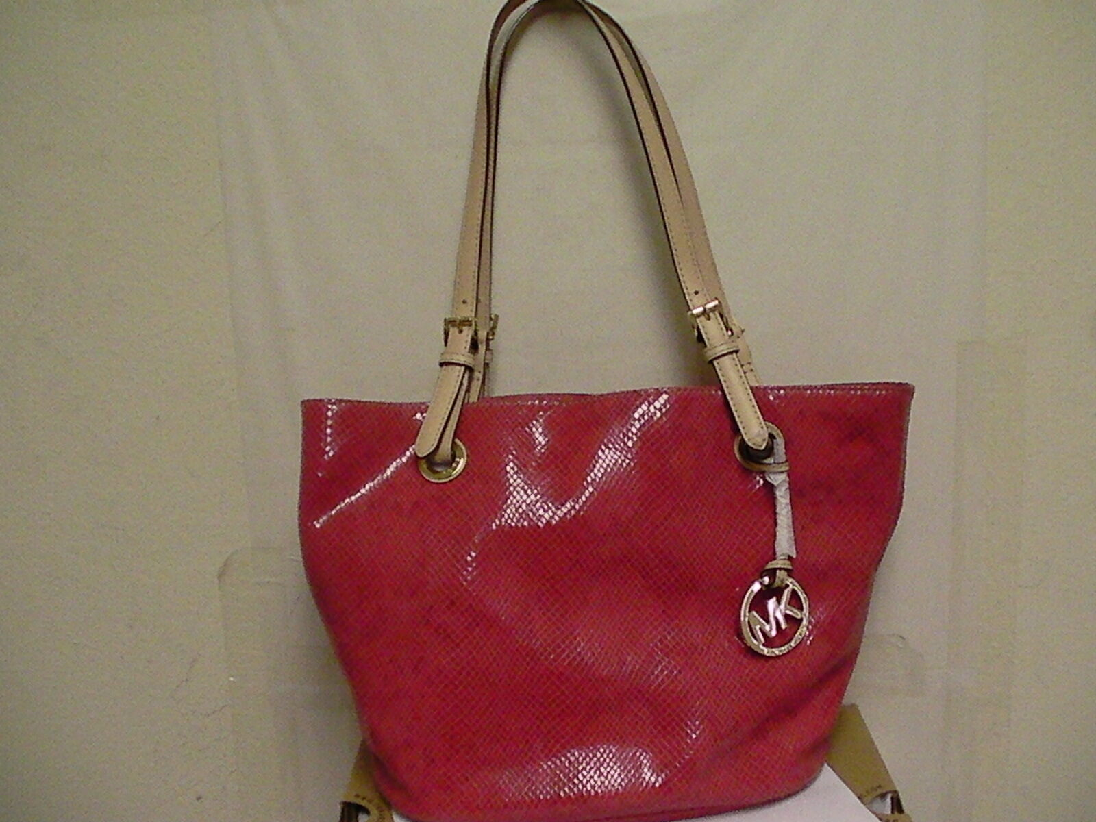 Primary image for Michael kors jet set mid tote handbag assorted leather