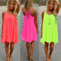 Summer Loose Sleeveless Chiffon Beach Mini Dress - $19.64