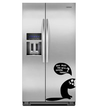 ( 24'' x 19'') Vinyl Fridge Decal Cute Hungry Cat / Kitty with Quote Asking to E - $22.75