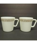 2 Vtg. Mid Century Pyrex Woodland Brown White Milk Glass Coffee Tea Cup ... - $19.85