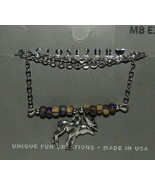 """Moose Necklace New Silver Tone 19"""" Chain Charm Brown Beads USA Made - $24.24"""