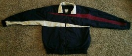 Vintage Izod Windbreaker Full Zip Jacket Colorblock Crest Men L Blue Nyl... - $29.05