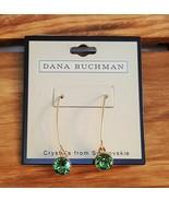 Dana Buchman Gold Plated Hook Swarovski Crystal Green Earrings  - $8.50