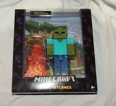 "NEW Minecraft Zombie in Flames Action Figure 5"" Large Figure Alex Steve - $17.81"