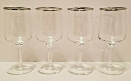 "4 EUC Lenox Crystal Desire Silver Platinum Band Rim 6 1/4"" Wine Goblets ... - $48.50"