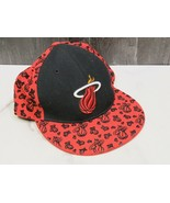 NBA Miami Heat Wool Cap Adidas 7 1/2 Fitted red and Black  - $17.82