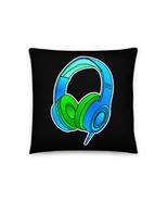 DJ Headphones Blue Green Personalised Pillow Cushion - $28.50+