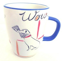 "Everyday Gibson Bow Wow Coffee Mug 4.5"" Dog Puppy Tricks Cream Blue Trim  - $14.45"