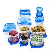 34 Pcs Reusable Plastic Food Storage Containers Set with Air Tight Blue ... - $22.83