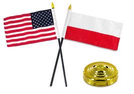 "Poland Polish w/ USA American Flag 4""x6"" Desk Set Table Stick Gold Base - $20.00"