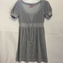 Juicy Couture Womens Babydoll Dress Gray Heathered Short Puff Sleeves Sc... - $22.76
