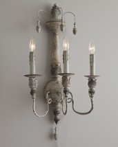 Horchow French Restoration Vintage Antique White Wall Sconce 3 Light $295 New - $246.51