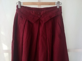 Women Pleated Long Linen Cotton Skirts Outfit Casual Skirt - Burgundy, One Size image 4