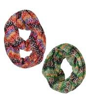 Le Nom Aztec Print Infinity Scarf Bundle Pack (2pcs) (RED/GREEN) - $14.84