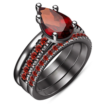 Pear Shape Red Garnet 14k Black Gold Plated 925 Silver Ladies Wedding Ring Set - $143.80