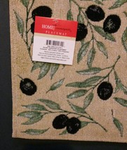 OLIVES TAPESTRY PLACEMATS Set of 4 Mediterranean Olive Branch Fabric 13x19 NEW image 2