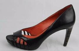 Via Spiga Mujer Cuero Zapatos Tacón Cuero Punta Abierta Negro Tamaño 8 - $31.57