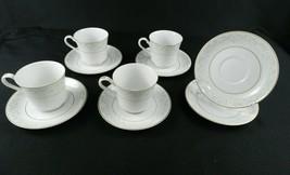 "4 Mikasa Coffee Cups / 6 Saucers - ""My Love"" L9010 White Gold Trim Flora... - $24.74"
