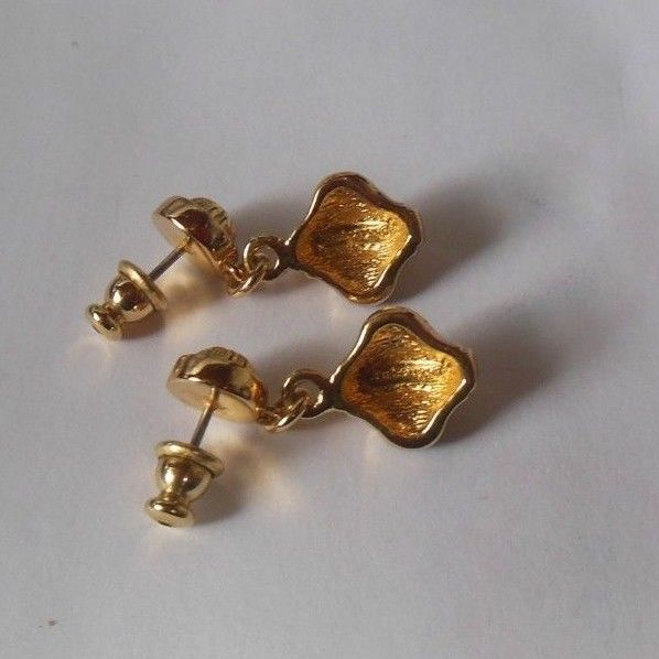 Signed Burberrys Gold-tone & Blue Dangle Pierced Earrings
