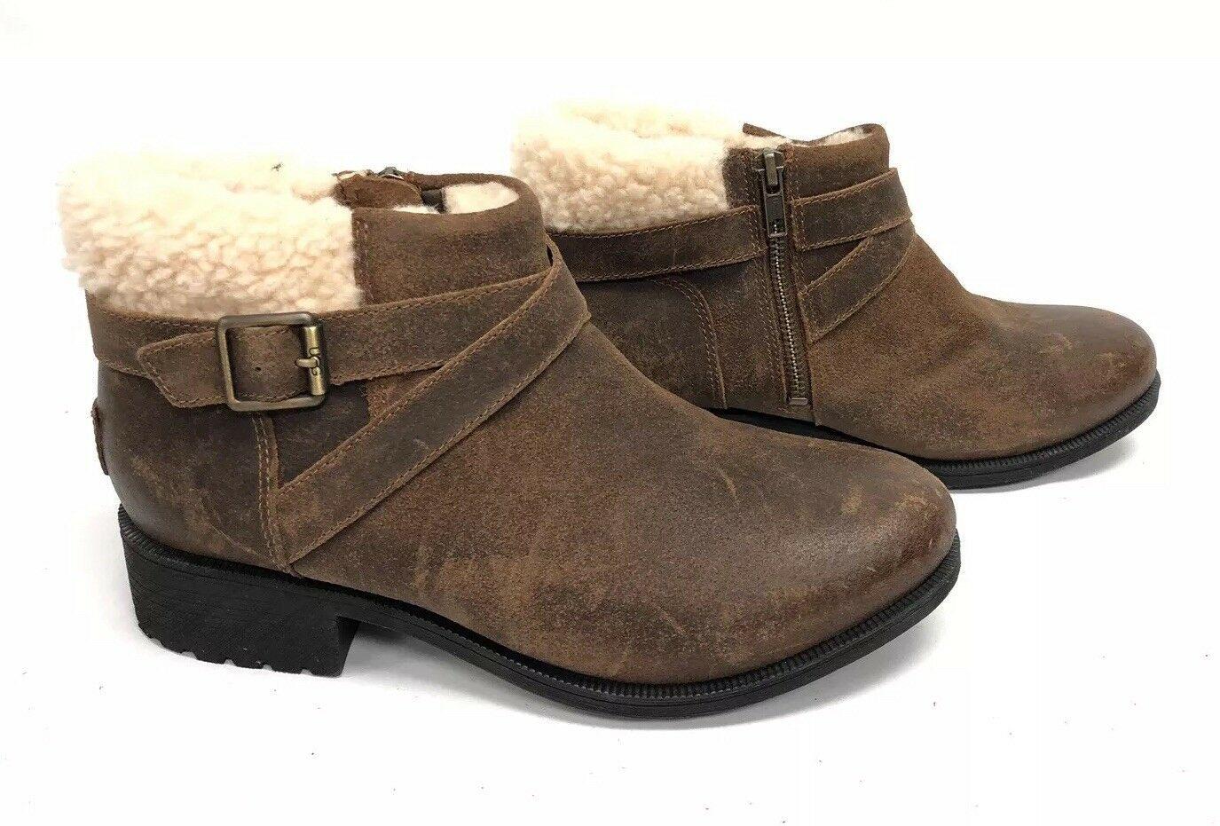 UGG Australia BENSON Buckle Sheepskin Ankle Booties 1095151 Chipmunk Waterproof image 3