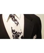 SATIN DAMASK NECKTIE-  Or Pocket Square,  Black White, All Sizes,  Infan... - $11.50