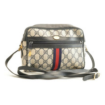 GUCCI Sherry Line GG Canvas Shoulder Bag Navy PVC Leather sa2034 **Powder - $450.00