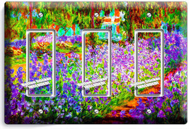 IRISES GARDEN CLAUDE MONET PAINTING 3 GFI LIGHT SWITCH WALL PLATE ROOM A... - $16.19