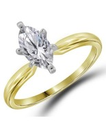 MARQUISE CUT DIAMOND ENGAGEMENT RING 1 CARAT WOMENS SOLITAIRE 14K YELLOW... - £3,175.59 GBP