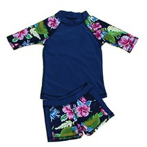 Yober Baby Girl Swimsuit Two Pieces Toddler Kid Long Sleeve Rash Guard U... - $16.94