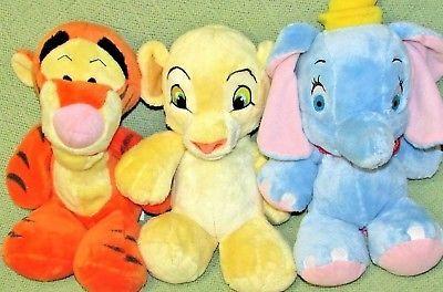 "DISNEY BABIES DREAM LOT Dumbo SIMBA Tigger Stuffed Animals 10"" Soft BABY Toys"