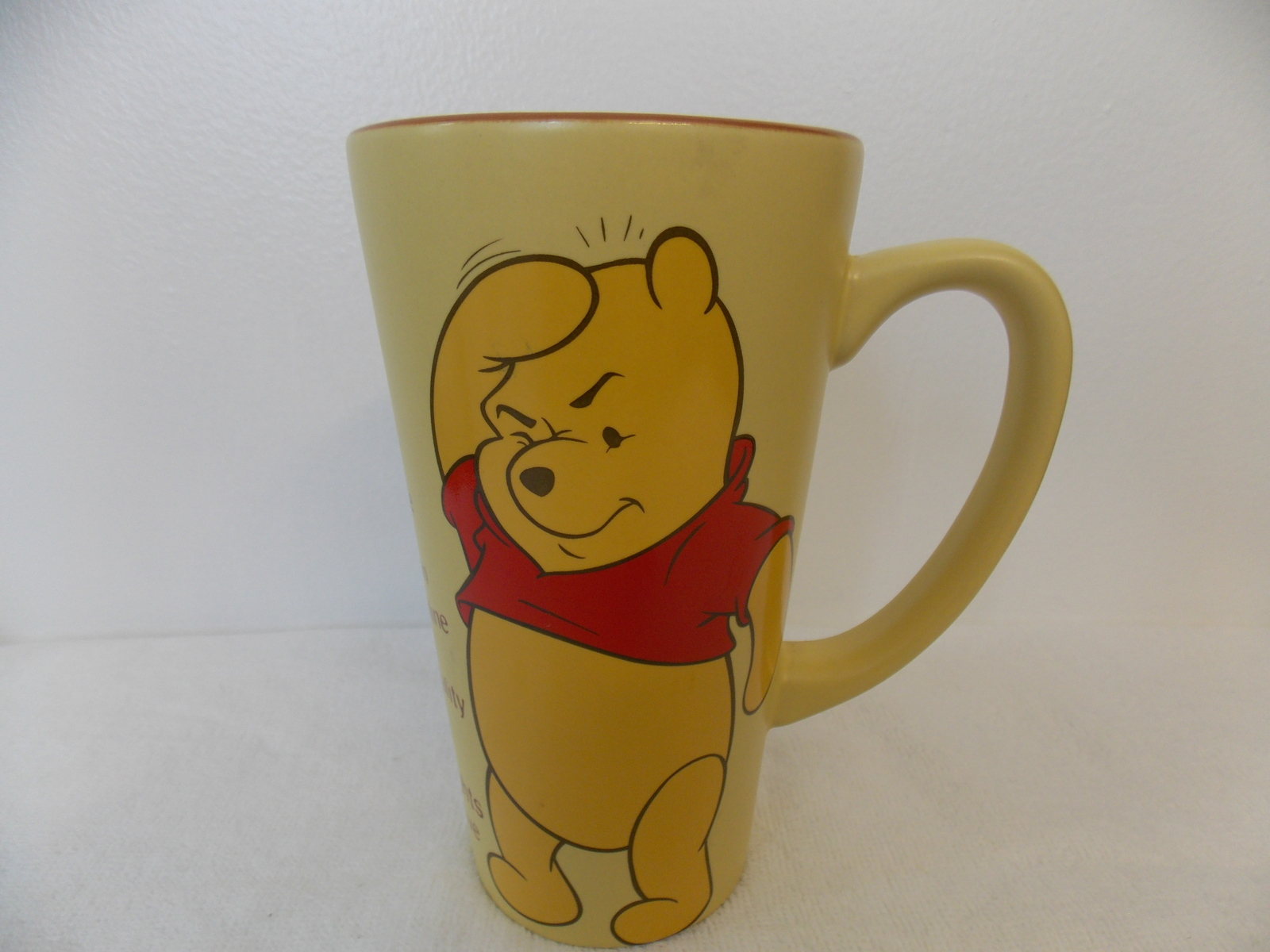 Disney Winnie the Pooh Yellow Checklist Tall Coffee Mug