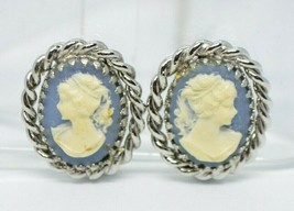 Blue Wedgewood Style Cameo Silver Tone Vintage Clip Earrings - $13.86