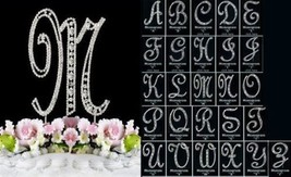 Vintage Style Crystal Monogram Cake Topper Silver Cake Initial A-Z Lette... - $17.33