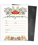 Rustic Fall Invitations in Autumn Colors with Pumpkin and Florals. 25 Fi... - $14.90