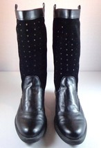 Stuart Weitzman Mid-Calf Boots Womens Black Leather Suede Bull's Eye 8 - 8.5? - $89.05